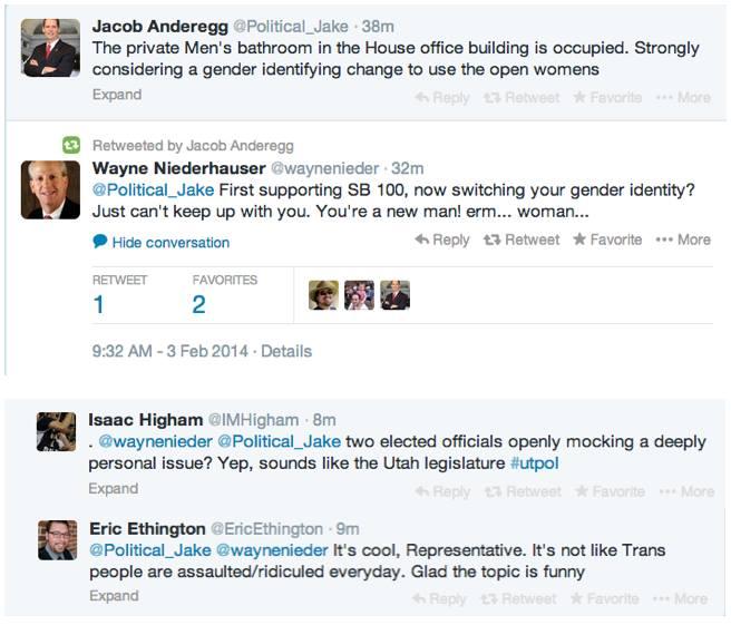 Photo of Animus? Utah legislators mock trans* citizens via Twitter