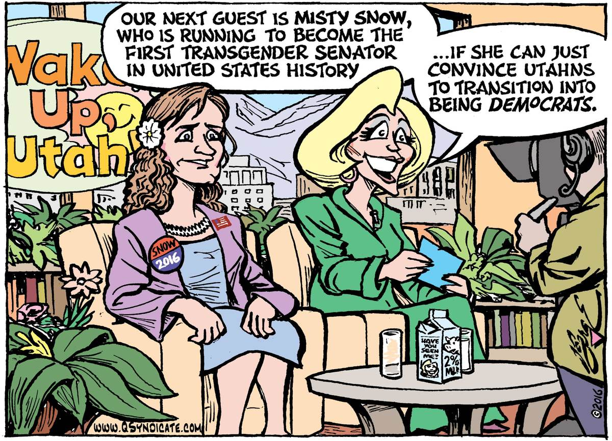 Photo of Editorial Cartoon: A candidate for change, featuring Utah's Misty Snow