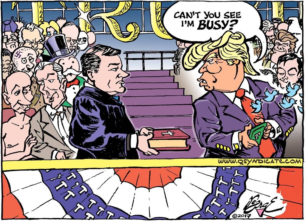 Photo of Editorial Cartoon: Commander in Tweet