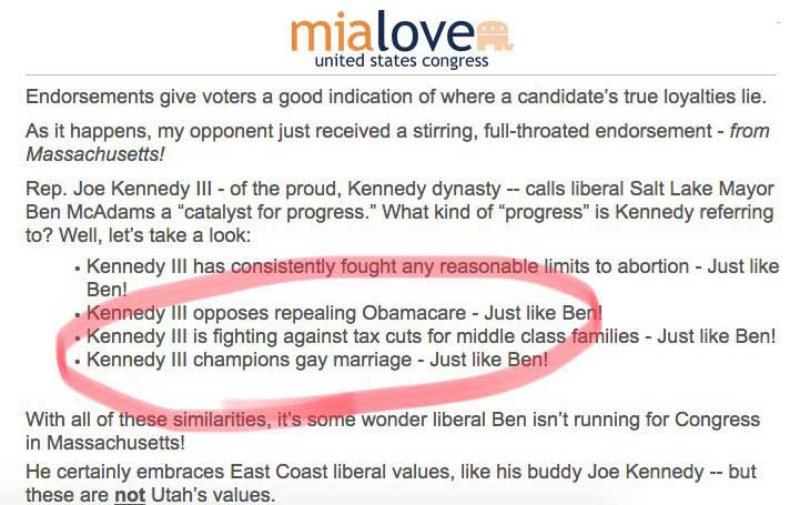 Photo of Mia Love campaign fires vendor over anti-gay email